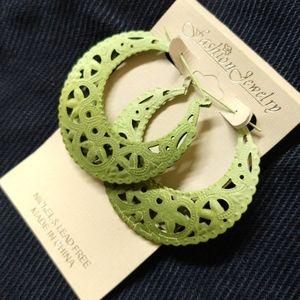 Large Exotic Green Moroccan/Bohemian Moon Earrings
